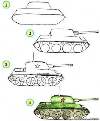 Ilkokul Kolay Tasit Resmi Cizme Art Drawings For Kids Tank Drawing Easy Drawings