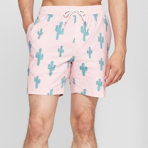 399dec38c9a Soak up the sun like a desert plant with these pink Cactus-Print Elastic-Waist  Board Shorts from Trinity Collective. These men s above-knee board shorts  ...