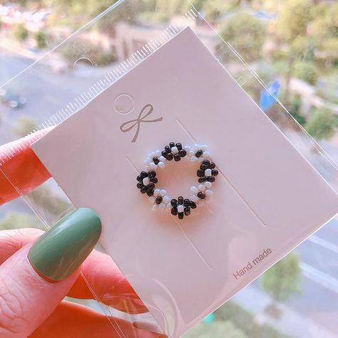 HZ 2019 Colorful Resin Flower Elastic Weaving  Fashion Finger Rings Korea Fashion Hit Color Beads Handmade Rings for Women Girls - 10