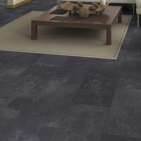 B Q Laminate Flooring, Harmonia Black Slate Effect Laminate Flooring