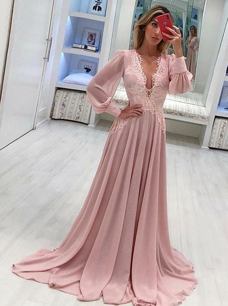 Chiffon Long Sleeves Prom Dress Elegant Deep V Neck Evening Dress