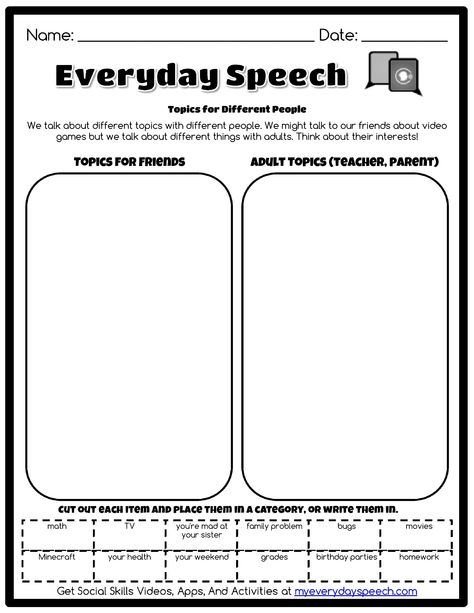 Working on appropriate topics for convo skills? Use this