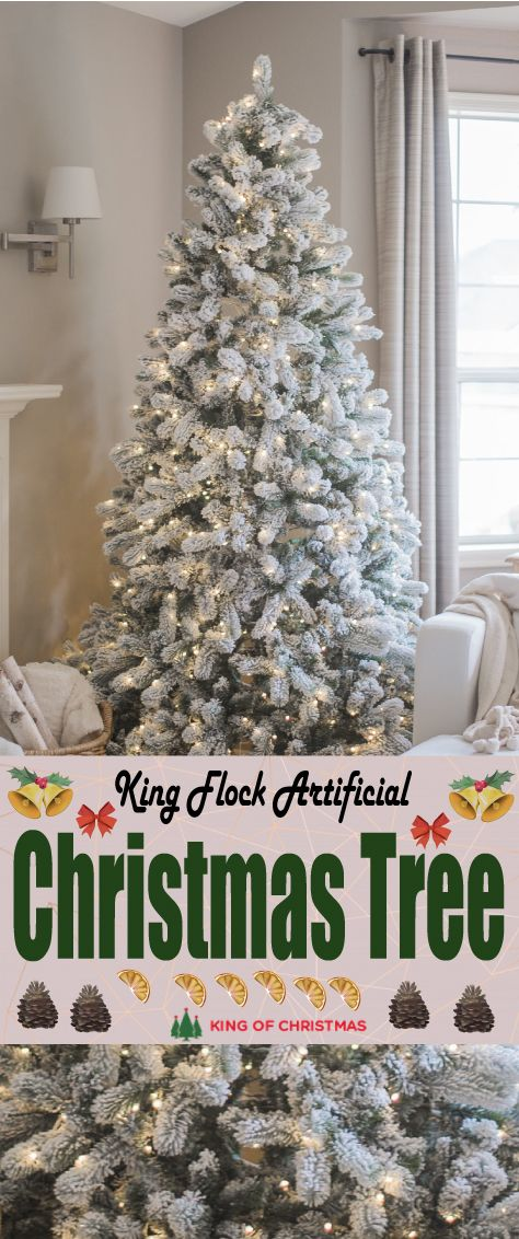 6 5 Foot King Flock Artificial Christmas Tree With 700 Warm White Led Lights