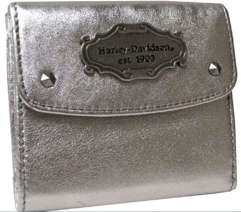 HARLEY-DAVIDSON® WOMENS LEATHER METALLIC SILVER TAXI WALLET MT7692L-SILVER NEW | eBay
