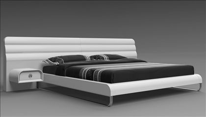 Ultra Modern Bed whiteline liquido ultra-modern king size platform bed with built