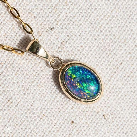 Minimalist Round Australian Doublet Opal Pendant Necklace in 14k Yellow Gold
