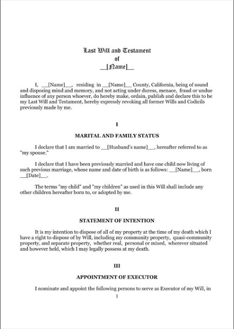 Last Will And Testament Template Form Massachusetts  Last Will And