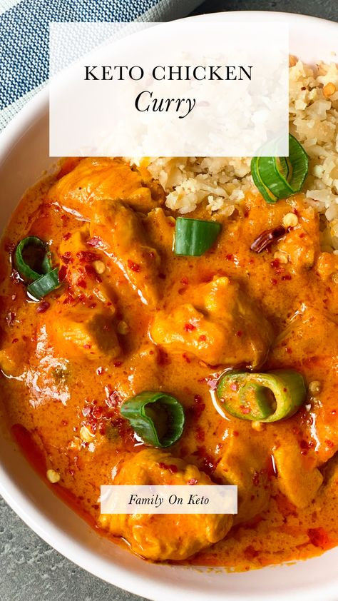 Keto chicken curry - chicken with curry coconut sauce - Family On Keto Chicken Curry Soup, Pork Curry, Chicken Curry Coconut Milk, Chicken Breast Curry, Coconut Milk Recipes, Coconut Sauce, Spicy Recipes, Keto Recipes, Dinner Recipes