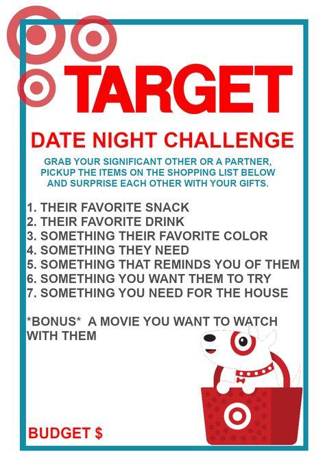 Target Date Night Challenge As Made Famous On Tiktok Cute Date Ideas Creative Dates Romantic Surprise