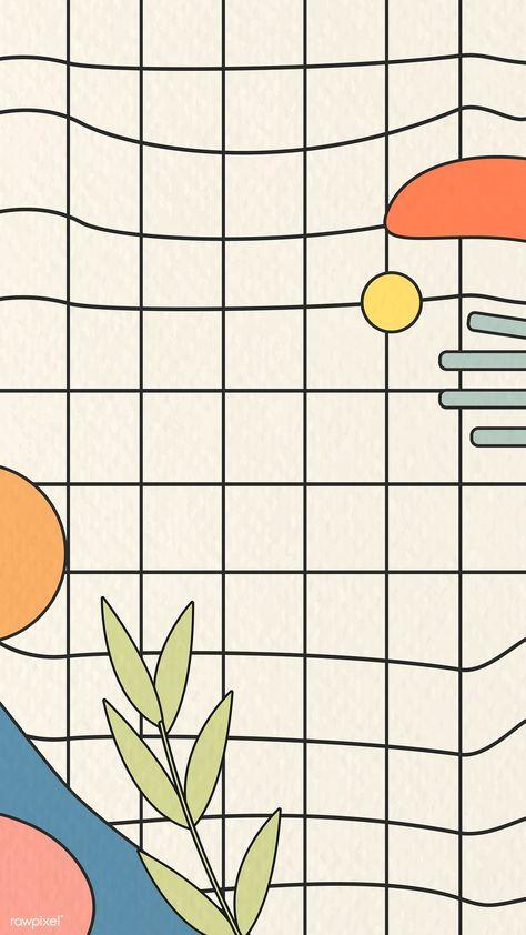 Abstract botanical pattern on beige  grid background vector mobile phone wallpaper | premium image by rawpixel.com / nunny #vector #vectoart #digitalpainting #digitalartist #garphicdesign #sketch #digitaldrawing #doodle #illustrator #digitalillustration #modernart