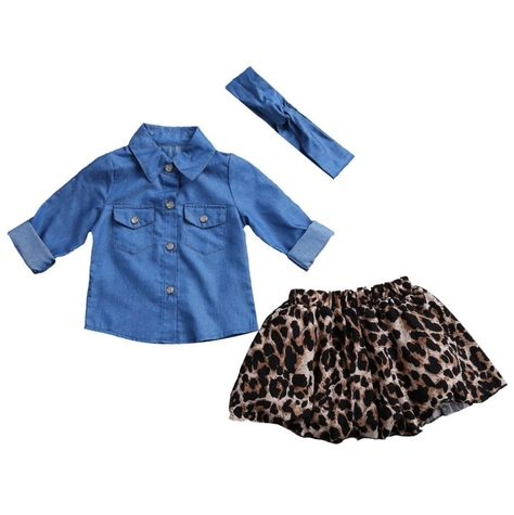 Family Matching Mother Daughter Blue Jean Shirt and Princess Tulle Overlay Lace Leopard Skirt Outfit Set