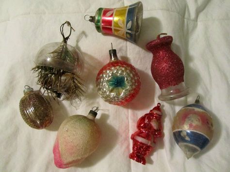 8 antique christmas ornaments glass indent santa flower pine cone bell vtg old ebay