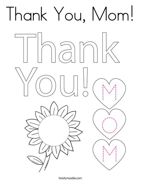 Thank You Mom Coloring Page Twisty Noodle In 2021 Mom Coloring Pages Coloring Pages Printable Thank You Cards