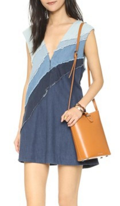Free People Patchwork Chambray Sheathe Dress