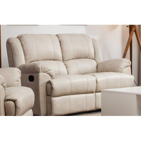 Taupe Leather Air Double Recliner Loveseat Double Recliner