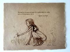 Girl Picking Flowers - Vintage style sketches on handmade paper - With – Phyllis Harris Designs