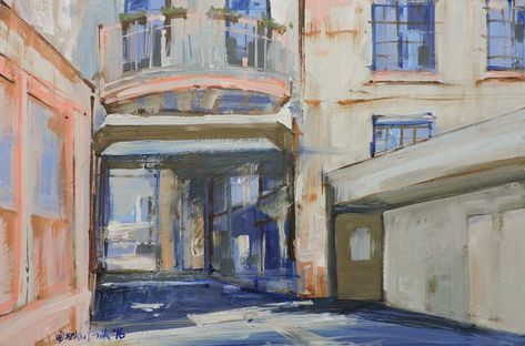 """Small, Original, Impressionist, Painting, Oil on MDF Panel, """"Balcony from the alley"""""""