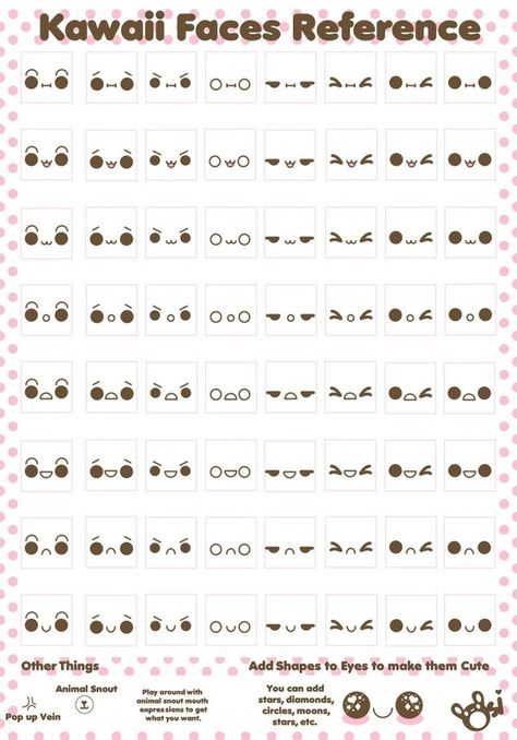 Kawaii Faces. Yes, you need a reference sheet of kawaii expressions for most anything.