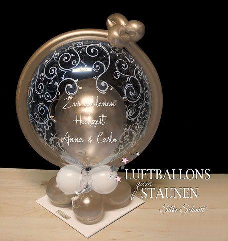 Luftballon Stander Die Besten Wunsche Zu Eurer Goldhochzeit Goldene Hochzeit Geldballon Und Silberhochzeit