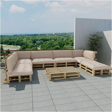vidaxl loungeset pallet 30 naturel/beige | products - muebles con
