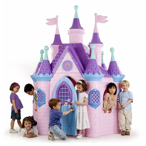 Jumbo Princess Palace Playhouse, Pink Castle Play House with Turrets and Flags, Full-Sized Door with Musical Doorknob, Indoor or Outdoor Play, Over 8 Feet Tall Princess Doll House, Princess Palace, Princess Castle, Princess Playhouse, Princess Bedrooms, Princess Toys, Pink Princess, Toddler Dollhouse, Toddler Playhouse