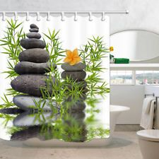 Spa Bathroom Waterproof Fabric Shower Curtain Set Asian Zen Spring Water Stones