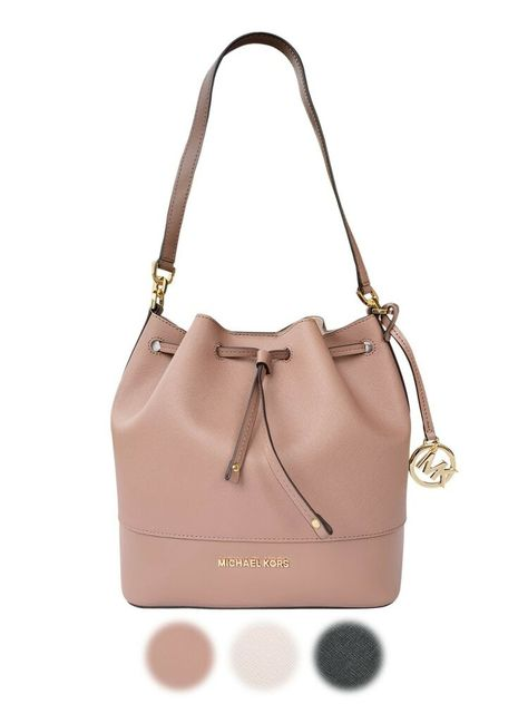 Michael Kors Trista Medium Bucket Bag Dusty Rose Black