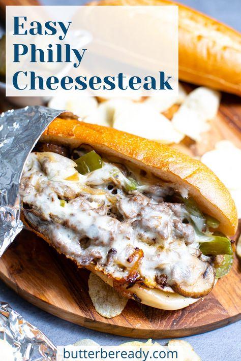 Steak Sandwich Recipes, Steak Recipes, Cooking Recipes, Philly Cheese Steak Sandwich Recipe Easy, Philly Cheese Steaks, Steak Sandwiches, Homemade Philly Cheesesteak, Cheesesteak Recipe, Dinner Recipes