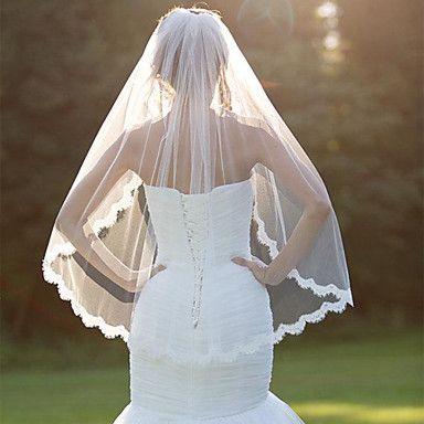 Wedding+Veil+One-tier+Fingertip+Veils+Lace+Applique+Edge+With+Comb+Scallop+Veil+Wedding+Bridal+Veil+–+USD+$+16.99