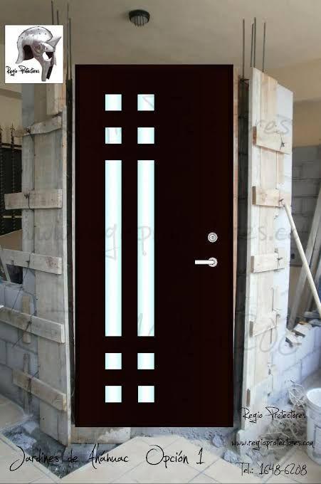 Resultado De Imagen De Puertas Entrada Principal Con Cristal Y Reja Puertas De Entrada Puertas De Entrada Aluminio Diseno De Puertas Modernas