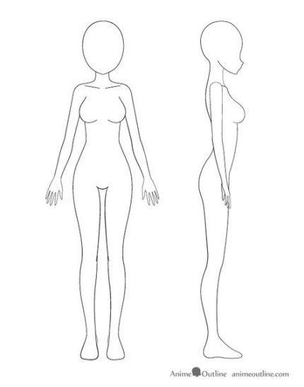 How To Draw Anime Girl Body Outline : anime, outline