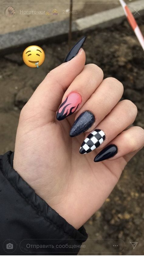 Black nails with a nice design   Inspiring Ladies