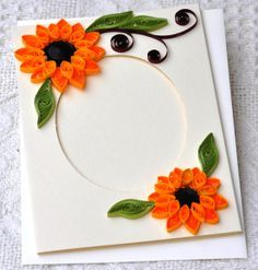 Homemade quilled simple paper quilling handmade card blank photo frame fold also flowers craft tutorial rh pinterest