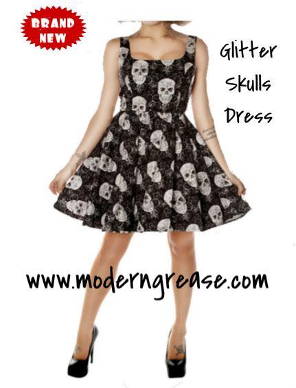 494d79a542d Glitter Skulls Dress at Modern Grease Clothing www.moderngrease.com #skulls  #halloween