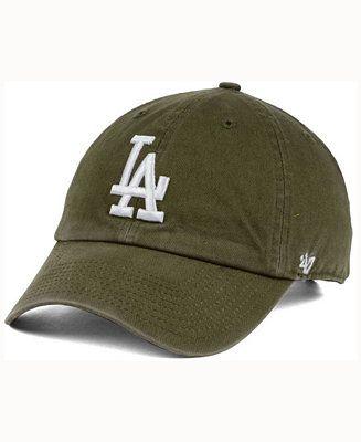 47 Brand Los Angeles Dodgers Olive White Clean Up Cap Men Sports Fan Shop By Lids Macy S Dodgers Dodger Hats La Dodgers Hat