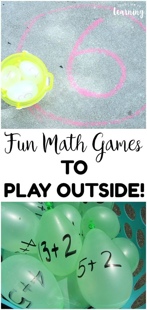 Take learning outdoors with this list of fun outdoor math games for kids! Awesome for keeping kids learning during summer break! #lookwelearn #mathgames #math #mathforkids #teachingkidsmath