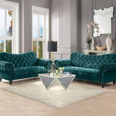 Rosdorf Park Rubinstein 37 Velvet Rolled Arm Loveseat In 2021 Velvet Sofa Living Room Turquoise Living Room Decor Sofa And Loveseat Set