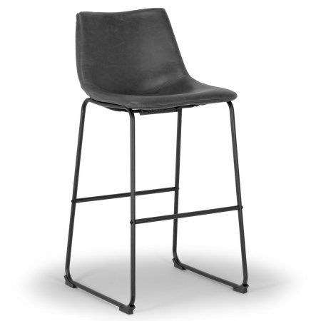 Set Of 2 Adan Iron Frame Vintage Grey Faux Leather Bar Stool Gray