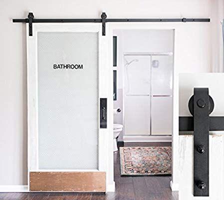 Amazon Com Industrial By Design 8ft Heavy Duty Sliding Barn Door Hardware Kit Black Easy St Diy Barn Door