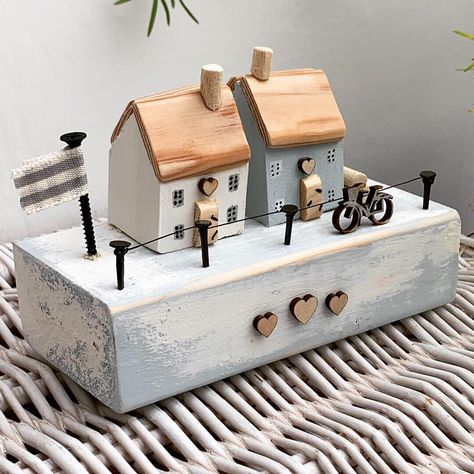 Excited to share this item from my #etsy shop: Coastal cottages on a wooden base with bike in duck egg blue