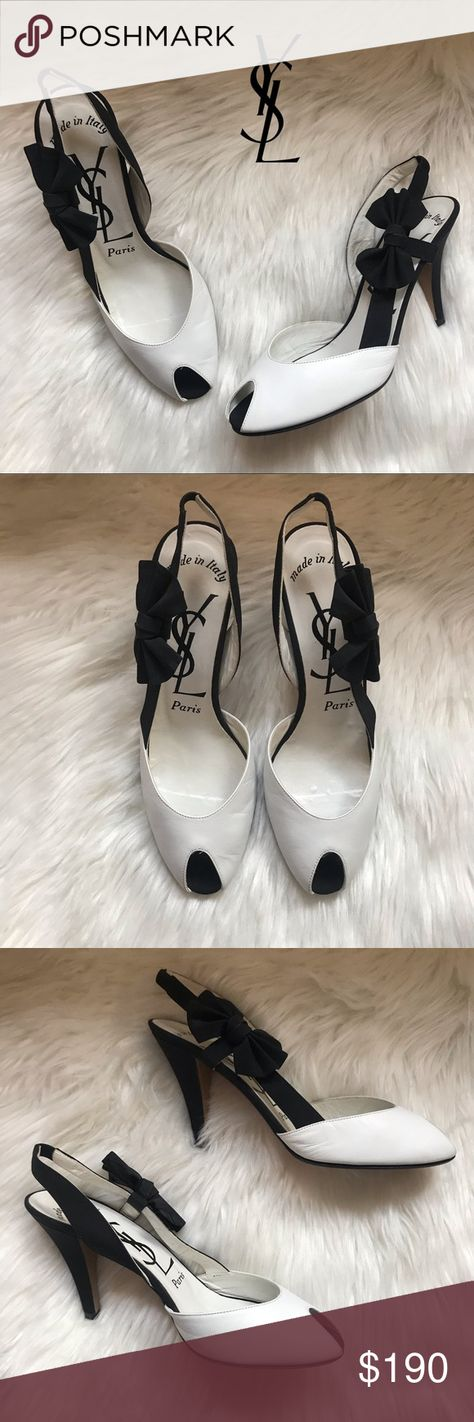"4090d8539be Authentic YSL Black & White Bow Slingback Shoes A gorgeous pair of YSL  Slingback Shoes Authentic Size: 7 3.75"" heel Peep-Toe style Feature a white  leather ..."