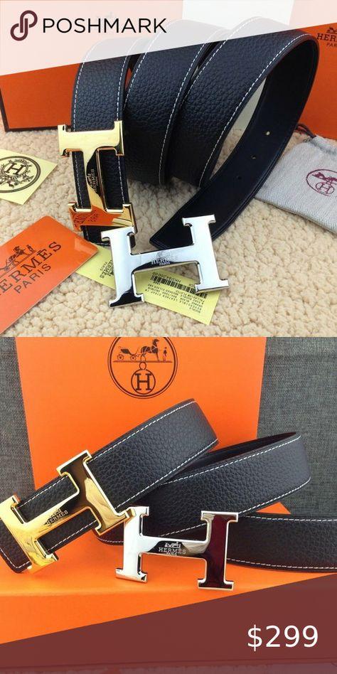 Hermes men's belt 110 cm black Double H Boutique in 2020