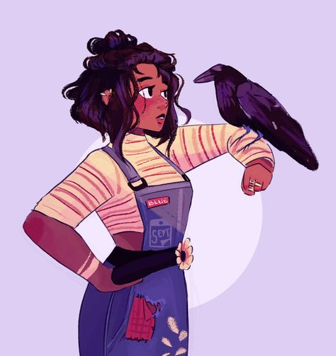 """septembersart: """"Just a tiny girl talking to a giant bird, nothing to see here~ """" Black Girl Art, Art Girl, Blue Sargent, Maggie Stiefvater, Wow Art, Character Design Inspiration, Cute Drawings, Cute Boy Drawing, Aesthetic Art"""