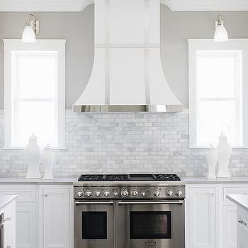 White French Range Hood With Stainless Steel Trim Small Bathroom Remodel Contemporary Kitchen Range Hood