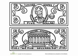 Five Dollar Bill Coloring Page Bill Coloring Dollar