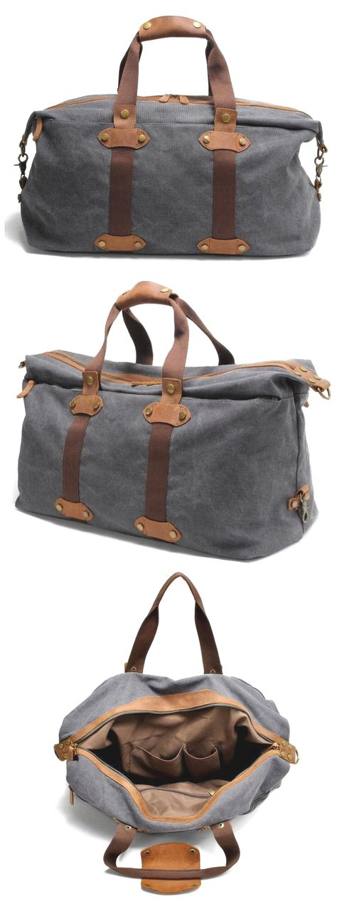 a10b1e7c3a Waxed Canvas  Leather Duffle Bag Overnight Bag Weekender Bag vintage leather   handbags