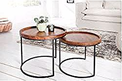 Retro 2er Set Beistelltische Elements 55cm Akazie Massivholz Stone Finish Riess Ambi In 2020 Storage Furniture Living Room Gold Living Room Furniture Coffee Table Wood