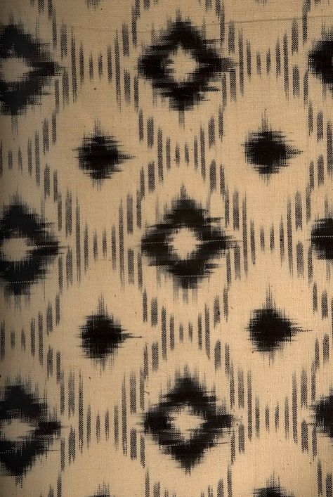Ikat fabric handdyed with vegetable dyes. South India.