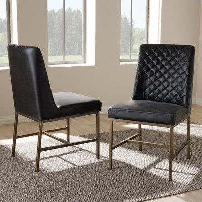Baxton Studio Margaux Modern Luxe Faux Leather Upholstered Dining