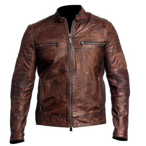 Cafe Racer Moto Biker Distressed Brown Leather Jacket Mens Motorcycle Coat - M / Cowhide Leather